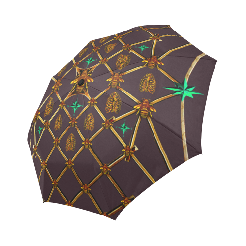 Bee Divergence Gilded Ribs & Jade Stars- Auto & Semi Auto Foldable French Gothic Umbrella in Muted Eggplant Wine | Le Leanian™