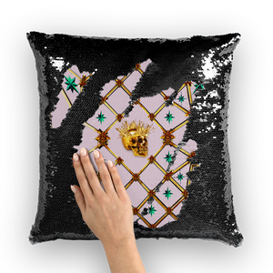 Golden Skull & Jade Stars- French Gothic Sequin Pillowcase or Throw Pillow in Nouveau Blush Taupe | Le Leanian™