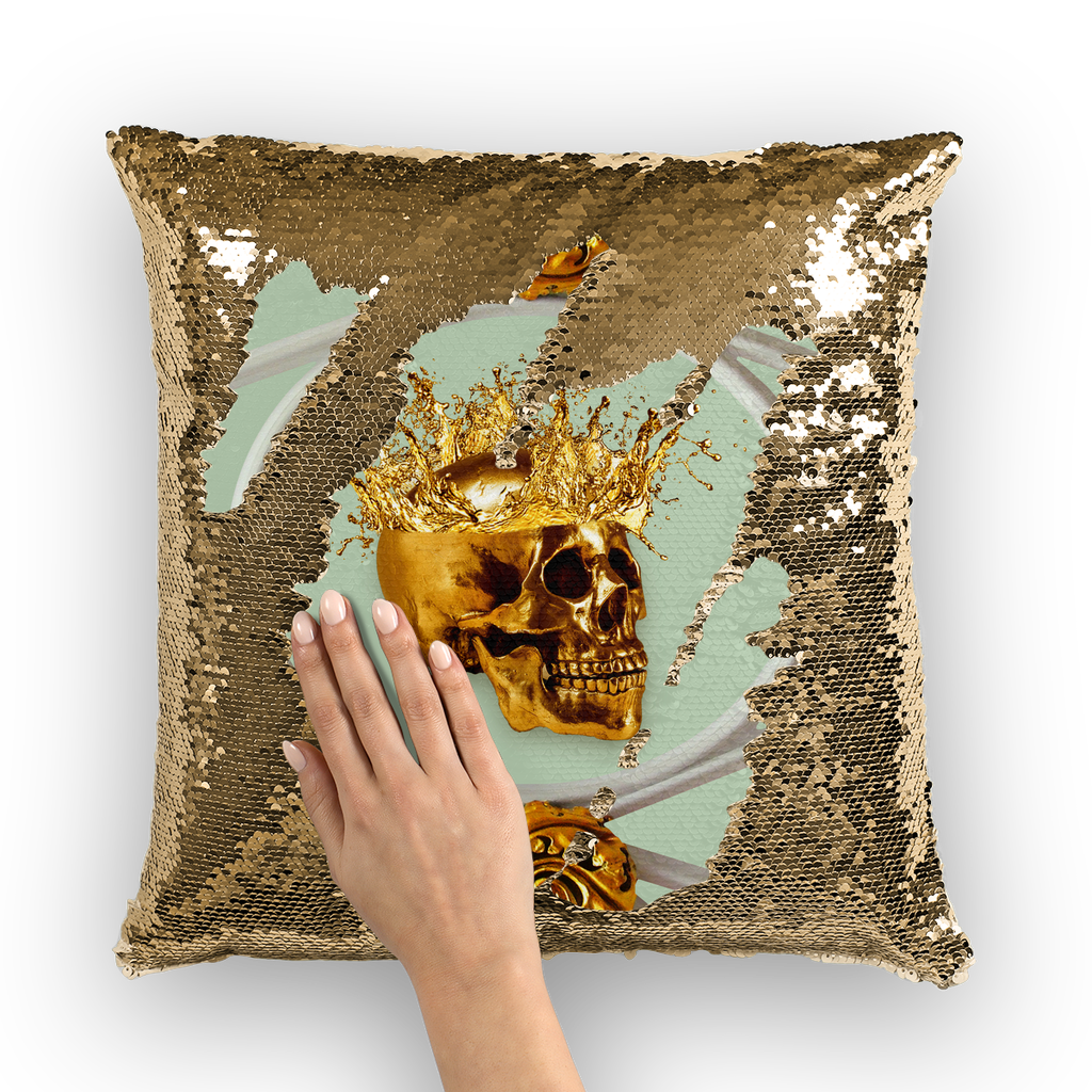 Versailles Golden Skull- French Gothic Sequin Pillowcase or Throw Pillow in Pastel | Le Leanian™