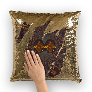 Baroque Honey Bee Extinction- French Gothic Sequin Pillowcase or Throw Pillow in Muted Eggplant Wine | Le Leanian™