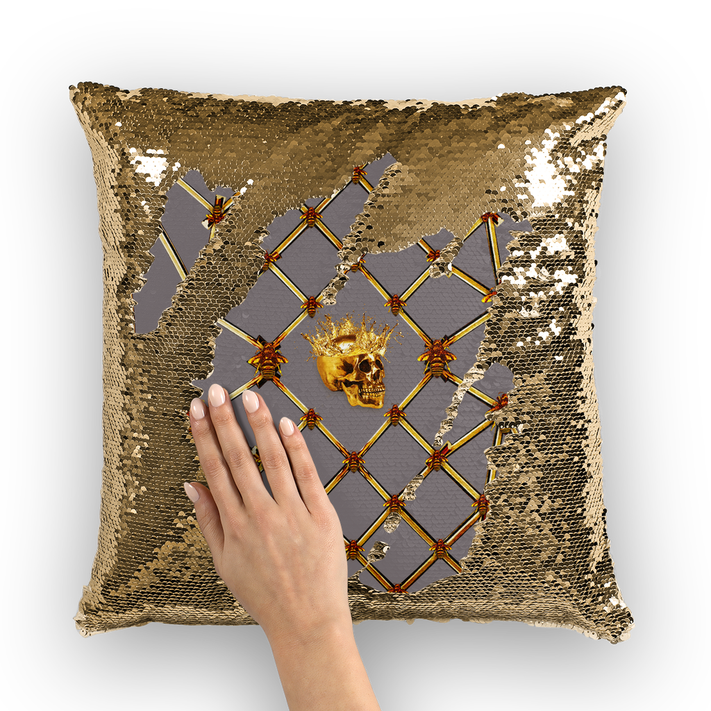 French Gothic Honey Bee & Rib Star Pattern-Sequin Pillowcase & Throw Pillow-Lavender Steel Purple