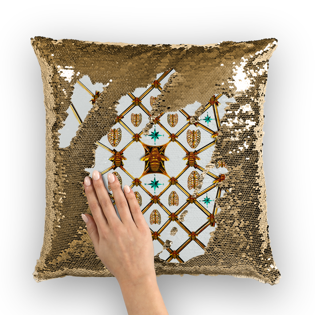 Sequin Gold Pillowcase & Throw Pillow-French Gothic Honey Bee & Rib Print- Light Gray