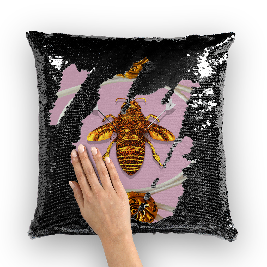 Versailles Bee Divergent- French Gothic Sequin Pillowcase or Throw Pillow in Nouveau Blush Taupe | Le Leanian™