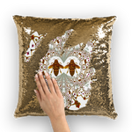 Sequin Gold & BLACK PILLOW CASE-Throw PILLOW-Baroque Bee Pattern-Color White