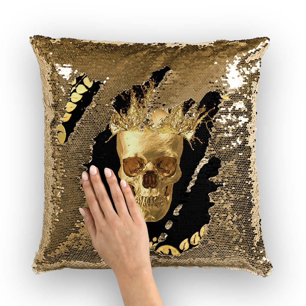 Gold Sequin Pillow Case-Gold Skull-Gold WREATH in color BLACK