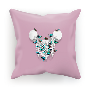 Siamese Skeletons with Teal Butterflies coming out The Rib cage- in Light Pink Purple Blush