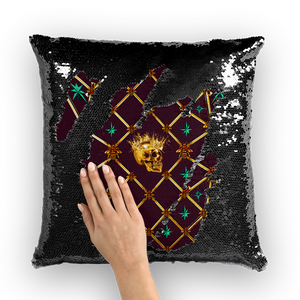 Golden Skull & Jade Stars- French Gothic Sequin Pillowcase or Throw Pillow in Eggplant Wine | Le Leanian™