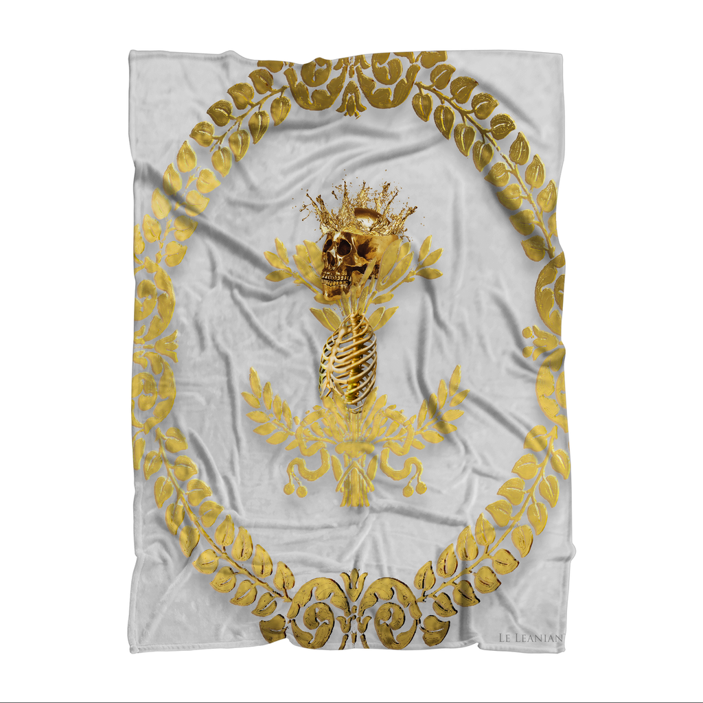 Polar Fleece Blanket-GOLD SKULL & RIBS-GOLD WREATH-Color Lightest GRAY