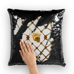 Golden Skull &  Star- French Gothic Sequin Pillowcase or Throw Pillow in Lightest Gray | Le Leanian™