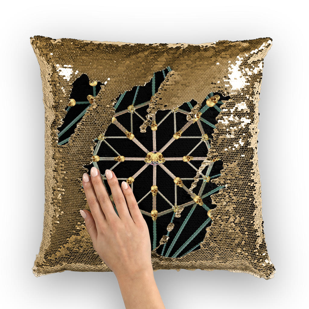 Cathedral Skull Pattern- Gold Sequin Pillow Case- Throw Pillow in Color Black