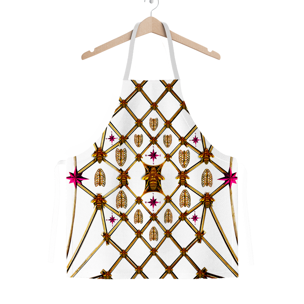 Honey Bee Gilded Hive-Pink Stars-Honeycomb Pattern- Classic Apron Color White