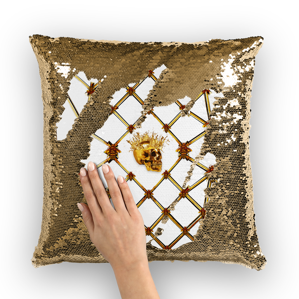 Gold Skull and Magenta Star-Honey Bee Pattern- Sequin Pillow Case, Cushion Cover-Throw Pillow in Color White