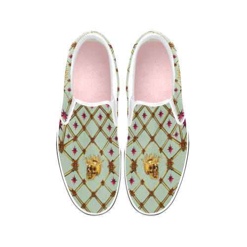 Gold Skull and Magenta Stars-Honey Bee Pattern- Punk-Classic Slip-On Sneakers-Vans in Color Pastel Blue, Light Blue