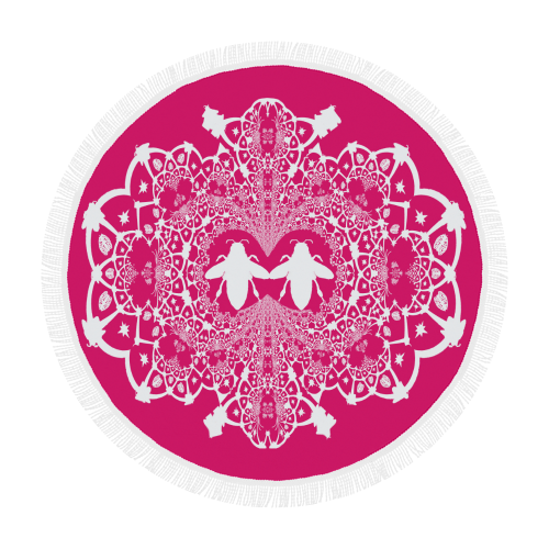 Circular Throw-Baroque Honey BEE Relief-Color PINK & WHITE