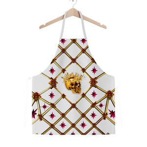 Skull Honeycomb & Magenta Stars- Classic French Gothic Apron in Lightest Gray | Le Leanian™