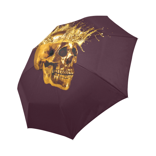 Cirque- Circus Metallic Gold Skull Umbrella- in Color Solid Eggplant, PURPLE, NEUTRAL PURPLE