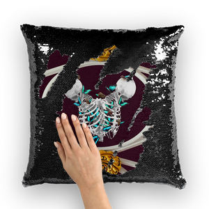 Versailles Gilded Skull Divergence Golden Whispers-French Gothic Sequin Pillowcase or Throw Pillow in Eggplant Wine | Le Leanian™