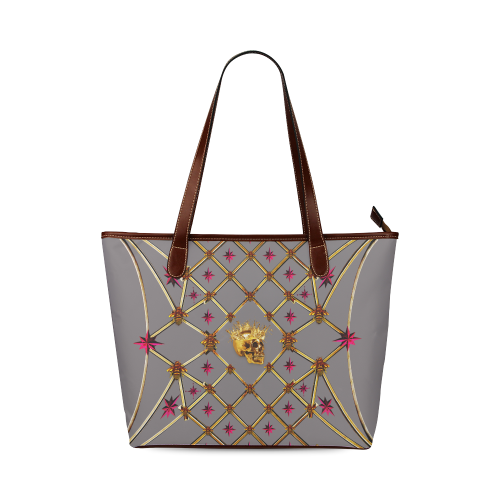 Skull & Magenta Stars- Classic French Gothic Tote Bag in Lavender Steel | Le Leanian™