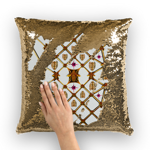 Gold & Black SEQUIN Pillow Case-Throw Pillow-GOLD BEES, RIBS & STAR Pattern- Color LIGHT GRAY