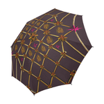 Custom UMBRELLA-Gold GILDED HONEY BEE, RIBS & STAR PATTERN- Color MUTED EGGPLANT WINE, NEUTRAL PURPLE