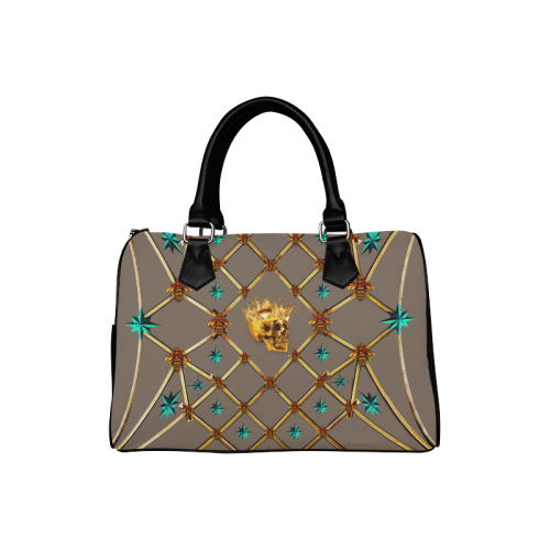 Skull & Teal Stars- French Gothic Boston Handbag in Cocoa Clay | Le Leanian™
