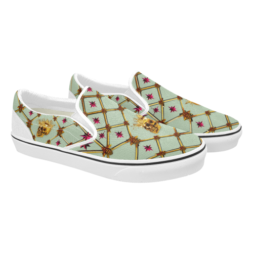 Skull & Magenta Stars- Women's French Gothic Slip-On Sneakers in Pastel | Le Leanian™