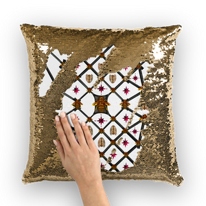 Sequin Gold & BLACK PILLOW CASE-Throw PILLOW-Honey Bee & Ribs- White