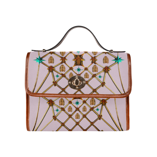 Gilded Bees & Ribs- Classic French Gothic Mini Brief Handbag in Nouveau Blush Taupe | Le Leanian™