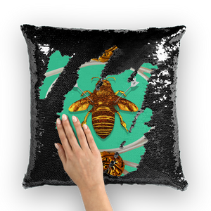Versailles Bee Divergent- French Gothic Sequin Pillowcase or Throw Pillow in Bold Jade Teal | Le Leanian™
