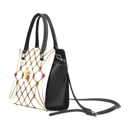 Skull & Honeycomb- Classic French Gothic Satchel Handbag in White | Le Leanian™