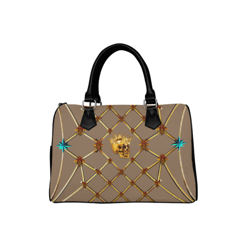 Skull & Teal Star- French Gothic Boston Handbag in Neutral Camel | Le Leanian™