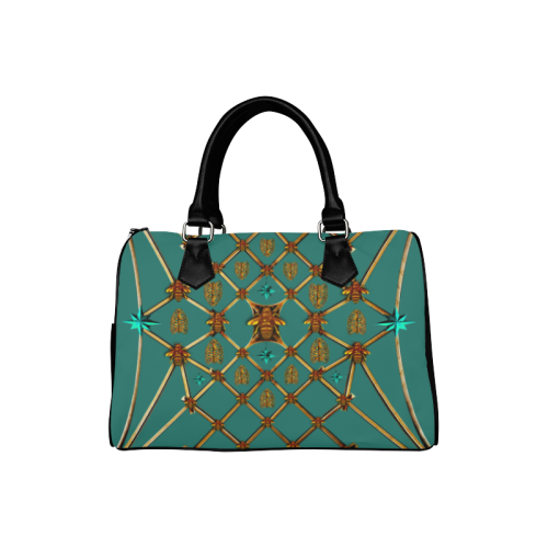 Gilded Bees & Ribs- French Gothic Boston Handbag in Jade | Le Leanian™