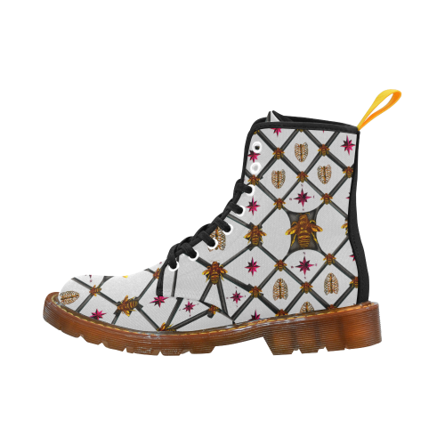 Bee Divergent Dark Ribs & Magenta Stars- Women's French Gothic Combat  Boots in Lightest Gray | Le Leanian™