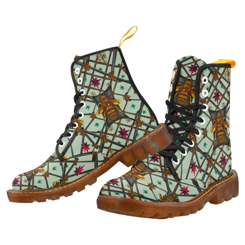 Women's Marten Style Military Boot-ABSTRACT MULTI COLOR HONEY BEE and RIBS PATTERN-Color PASTEL BLUE
