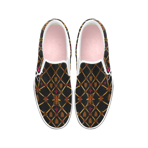 Women's Slip-On-VANS Style-OXFORD-Sneakers-BEES, RIBS & STARS PATTERN-Color BLACK