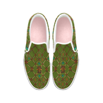 Bee Divergence Ribs and Teal Stars- Women's French Gothic Slip-On Sneakers in Bold Olive | Le Leanian™