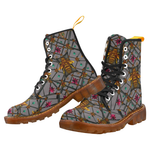 Women's Marten Style Military Boot-ABSTRACT MULTI COLOR HONEY BEE and RIBS PATTERN-Color LAVENDER STEEL, PURPLE GRAY