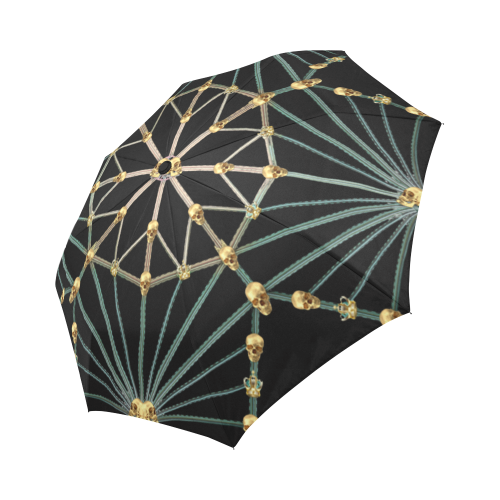 Gold Skull Cathedral-Custom Umbrella-Fashion Umbrella-French Country Chic- Goth Chic- Umbrella in Color Black