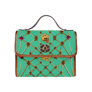Skull and Honeycomb- Mini Brief Handbag in Bold Pastel Jade | Le Leanian™