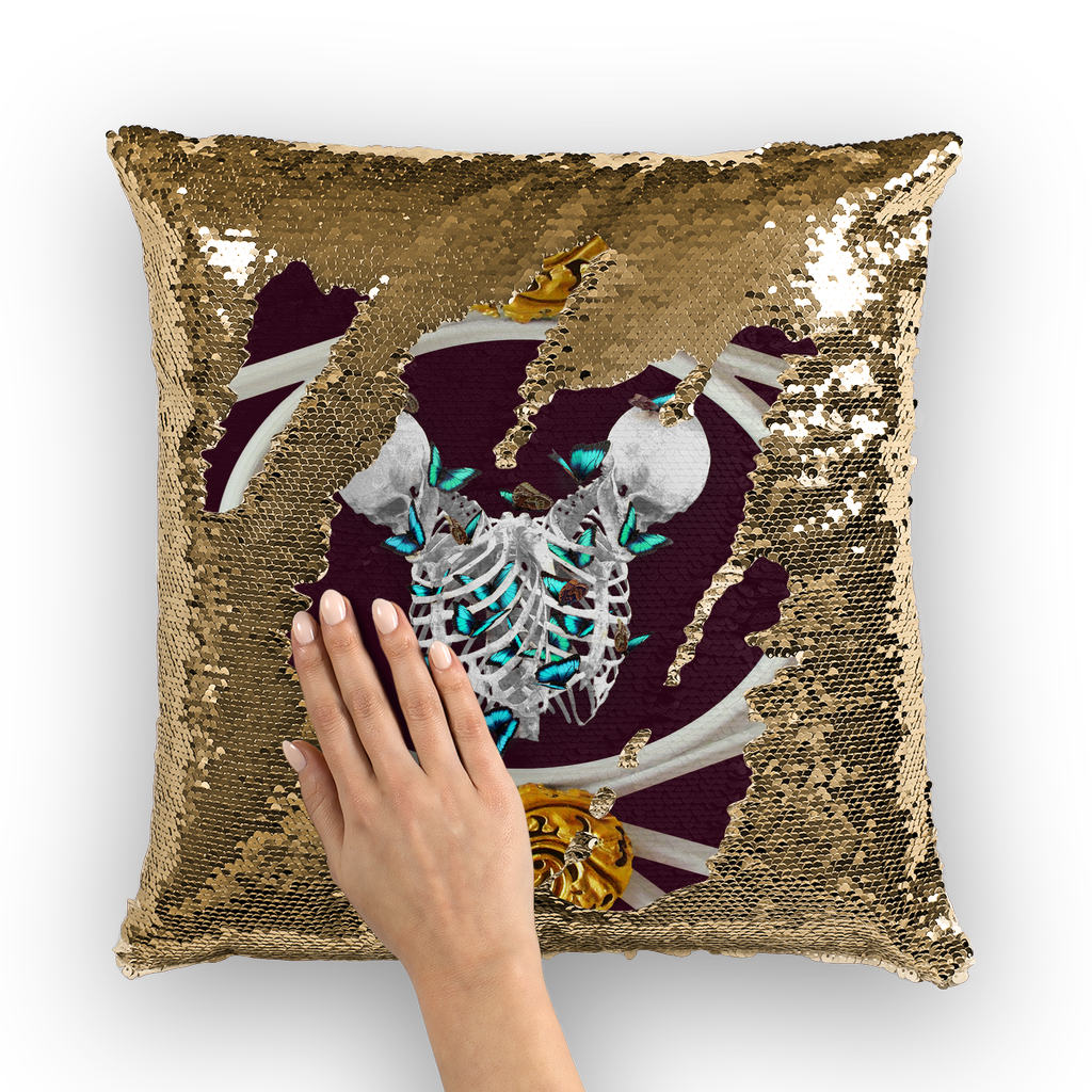 Siamese Skeleton & Blue Butterfly- Gold Sequin Pillow Case- French Gothic- Gothic Chic Interiors- Color- Eggplant- Wine- Wine Red