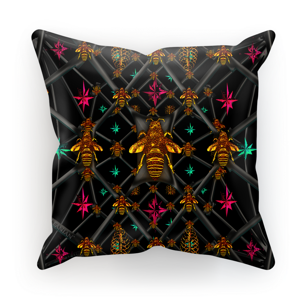 Bee Divergent Abstract- French Gothic Satin & Suede Pillowcase in Back to Black | Le Leanian™
