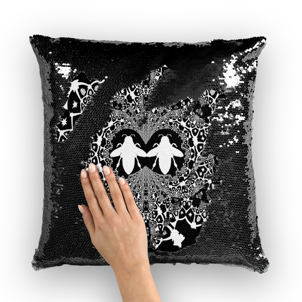 Baroque Hive Relief- French Gothic Sequin Pillowcase or Throw Pillow in Back to Black | Le Leanian™