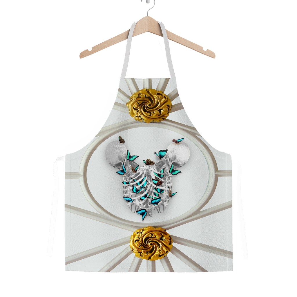 Versailles Gilded Skull Divergence Teal Whispers- Classic French Gothic Apron in Lightest Gray | Le Leanian™