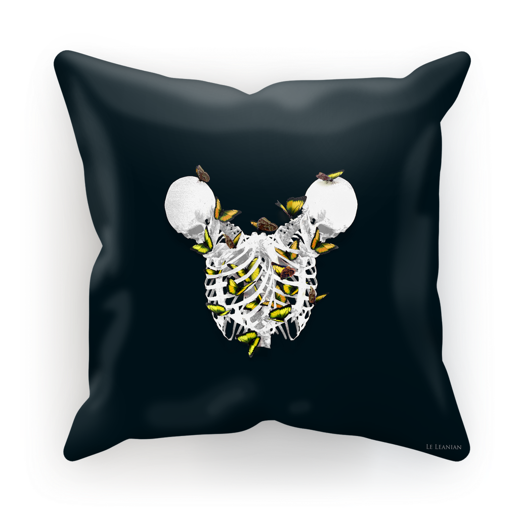 Versailles Divergence Golden Skull Duality- French Gothic Satin & Suede Pillowcase in Midnight Teal | Le Leanian™
