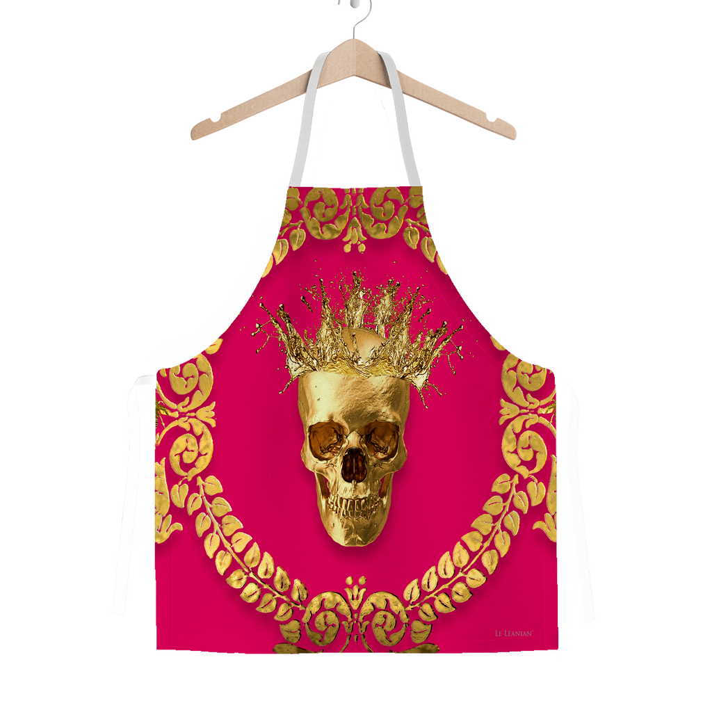 Classic Apron-Gold SKULL and Crown-Gold WREATH-Color BOLD FUCHSIA, HOT PINK, BRIGHT PINK