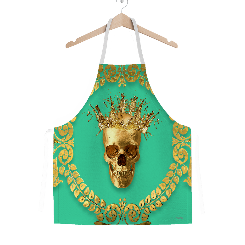 Classic Apron-Gold SKULL and Crown-Gold WREATH-Color BOLD JADE TEAL, AQUA, BLUE GREEN