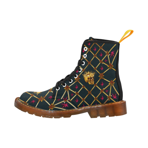 Golden Skull & Magenta Stars- Women's French Gothic Combat  Boots in Midnight Teal | Le Leanian™
