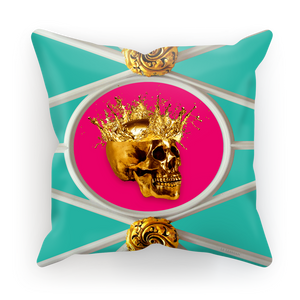 Versailles Golden Skull & Crown Pillowcase- in Blue & Fuchsia Pink