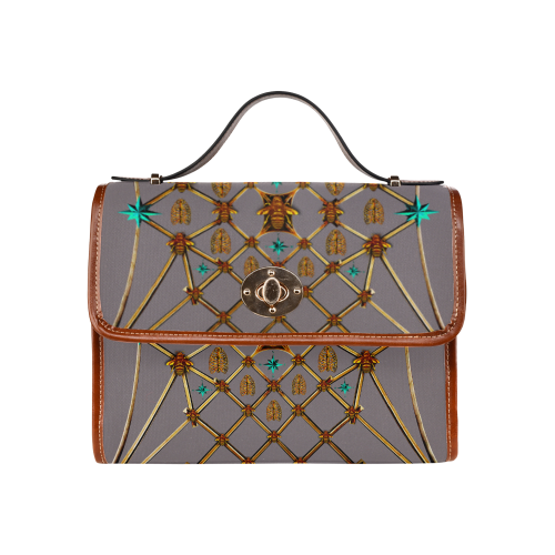 Gilded Bees & Ribs- Classic French Gothic Mini Brief Handbag in Lavender Steel | Le Leanian™