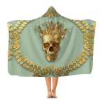 Polar Fleece Blanket-GOLD SKULL & CROWN-GOLD WREATH-Color PASTEL BLUE